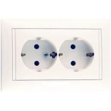 Розетка двойная (моноблок) Legrand Valena  с заземлением со шторками (белый)    774427