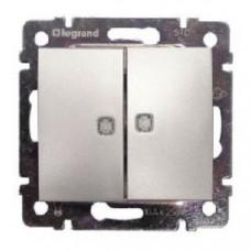 Выключатель двухклавишный с подсветкой Legrand Valena (алюминий)   770128