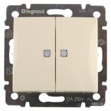 Выключатель двухклавишный с подсветкой (слоновая кость)  Legrand Valena 774328