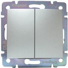 Выключатель Legrand Valena двухклавишный (алюминий)   770105